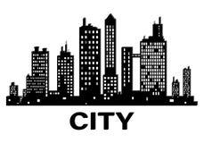 Icône noire de silhouette de ville de vecteur illustration stock