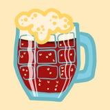 Icône noire de tasse de bière, style tiré par la main illustration de vecteur