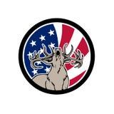 Icône nord-américaine de drapeau des Etats-Unis de cerfs communs Photographie stock libre de droits