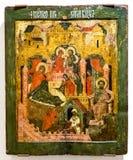 Icône orthodoxe russe antique de la nativité de la Vierge Photographie stock libre de droits