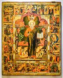 Icône orthodoxe russe antique St John le théologien avec Scen Image libre de droits