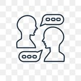 Icône parlante de vecteur d'isolement sur le fond transparent, T linéaire illustration de vecteur
