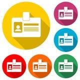 Icône personnelle de carte d'identification, permis de conduire de voiture, icône de couleur avec la longue ombre Images libres de droits