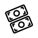Icône plate découpée de silhouette, conception simple Sac d'argent avec le symbole dollar des USA Illustration pour le budget, bé illustration libre de droits