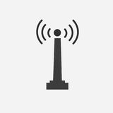 Icône plate d'antenne sur le fond gris Photo stock