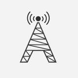 Icône plate d'antenne sur le fond gris Image stock