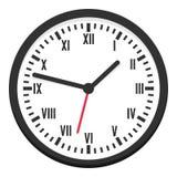 Icône plate d'horloge murale ronde noire sur le blanc Photos stock