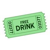 Icône plate de billet gratuit de boissons de vert sur le blanc illustration de vecteur