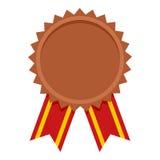 Icône plate de récompense de médaille de bronze sur le blanc Image stock