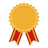 Icône plate de récompense de médaille d'or sur le blanc Photographie stock