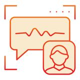 Icône plate de reconnaissance saine Icônes rouges d'authentification de voix dans le style plat à la mode Style de gradient de vé illustration de vecteur