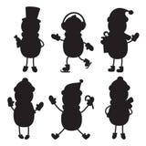 Icône plate de silhouette, conception simple de vecteur Ensemble de snowm de bande dessinée illustration libre de droits
