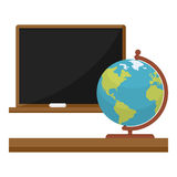 Icône plate de tableau noir et de globe sur le blanc Photographie stock