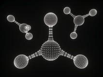 Icône polygonale abstraite de structure de molécule basse poly cellule reliée biologique ADN géométrique de maille de technologie images libres de droits