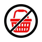 Icône pour le jour du rejet des achats Le rouge a croisé le symbole de caddie photo stock
