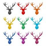 Icône principale de cerfs communs, icônes de couleur réglées Image stock
