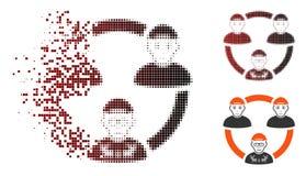 Icône réduite en fragments de Dot Halftone Geek Collaboration Network illustration de vecteur
