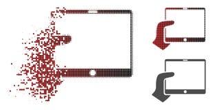 Icône réduite en fragments de Dot Halftone Hand Holds Tablet illustration libre de droits