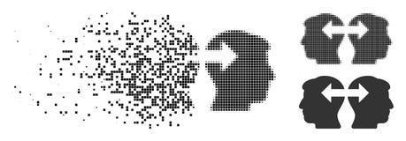 Icône réduite en fragments de Dot Halftone Heads Exchange Arrows Illustration Stock