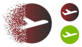 Icône réduite en fragments de Dot Halftone Valid Airplane Departure illustration libre de droits