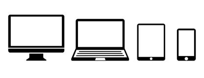 Icône réglée de dispositifs de technologie de noir - vecteur illustration de vecteur