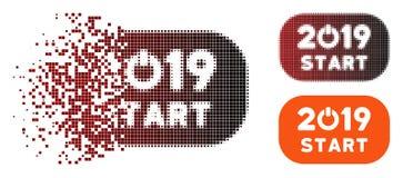 Icône 2019 rompue de bouton marche d'image tramée de pixel illustration stock