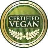 Icône ronde certifiée de label de produit de Vegan illustration stock