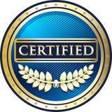 Icône ronde certifiée de label de vintage bleu illustration libre de droits