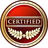 Icône ronde certifiée de label de vintage rouge illustration de vecteur