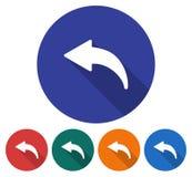 Icône ronde de flèche à gauche incurvée illustration stock