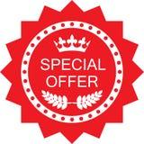 Icône rouge d'insigne de la publicité d'offre spéciale illustration de vecteur