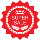 Icône rouge d'insigne de remise superbe de vente illustration stock