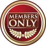 Icône rouge de bannière d'emblème de membres seulement illustration stock