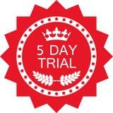 Icône rouge de luxe d'essai de cinq jours d'insigne illustration stock