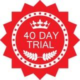 Icône rouge de luxe d'essai d'insigne de quarante jours illustration stock