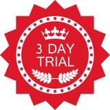 Icône rouge de luxe d'essai de trois jours d'insigne illustration libre de droits