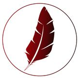 Icône rouge de plume - idée pour le logo Photos stock