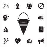 Icône rouge de seau de feu en métal Ensemble détaillé d'icônes de garde du feu Signe de la meilleure qualité de conception graphi illustration libre de droits