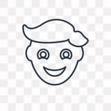 Icône saine de vecteur de garçon d'isolement sur le fond transparent, ligne illustration libre de droits