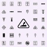 icône sans surveillance de passage à niveau Ensemble universel d'icônes ferroviaires d'avertissements pour le Web et le mobile illustration libre de droits