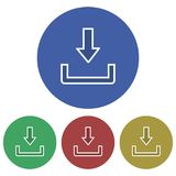 Icône simple, circulaire, plate de téléchargement cadre blanc Quatre variations de couleur illustration stock