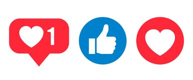 Icône sociale de réactions de réseau, comme, coeur - vecteur illustration de vecteur