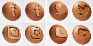 ic?ne sociale de texture en bois des m?dias 3D illustration libre de droits