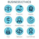 Icône solide d'éthique d'affaires réglée avec l'honnêteté, intégrité, Commitme illustration stock