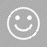 Icône souriante positive sur le fond rayé noir, conception d'ensemble Vecteur illustration libre de droits