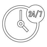 Icône 7, style du service client 24 d'ensemble illustration stock