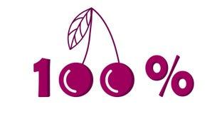 Icône, symbole de commercialisation de cerise de cent pour cent Illustration de vecteur illustration stock