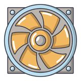 Icône thermique de fan, style de bande dessinée Images stock