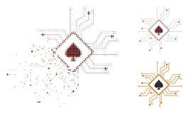 Icône tramée cassée de circuit de casino de Pixelated Digital Illustration de Vecteur