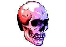Icône tramée colorée pointillée de crâne dessinée avec des variations de couleur d'arc-en-ciel par rapport au gradient horizontal illustration de vecteur